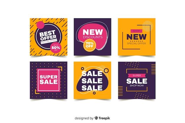 Conjunto de postagens do instagram de vendas