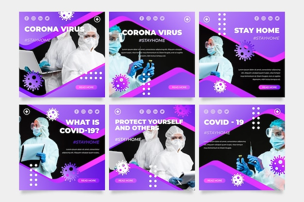 Conjunto de postagens do instagram do coronavirus