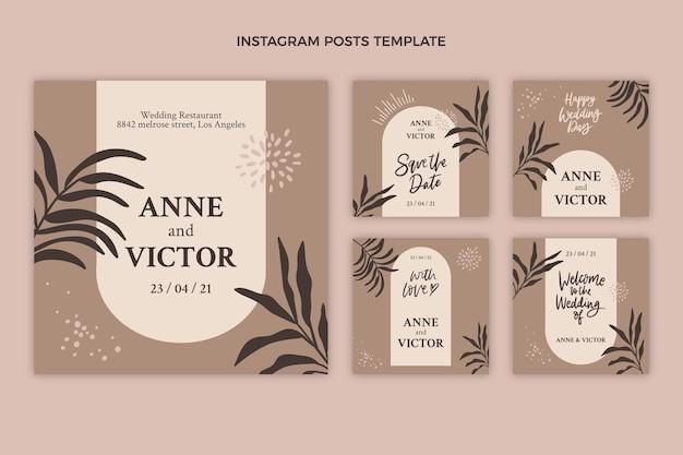 Conjunto de postagens do instagram para casamento desenhado à mão