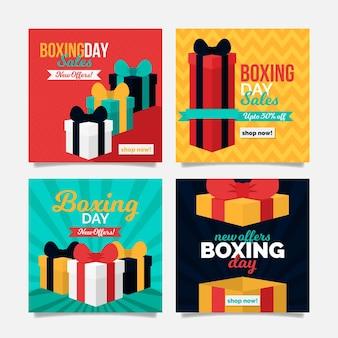 Conjunto de postagens do instagram para promoções de boxing day