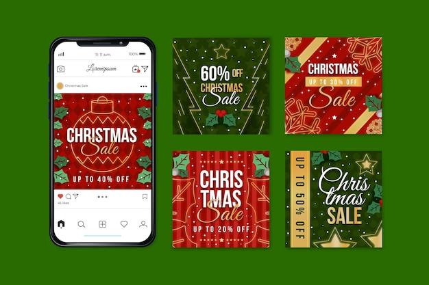 Conjunto de postagens do instagram para venda de natal