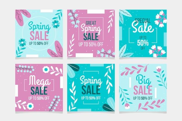Conjunto de postagens do instagram para venda de primavera