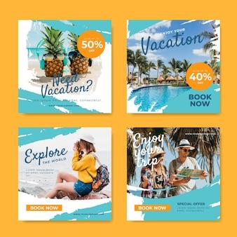 Conjunto de postagens do instagram para venda de viagens