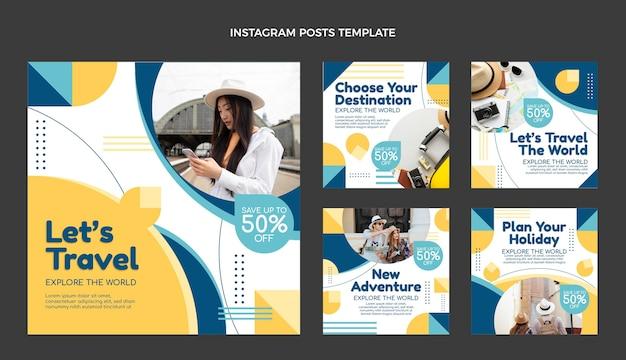 Conjunto de postagens do instagram para viagens planas