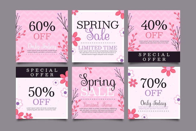Conjunto de postagens instagram para venda plana de primavera