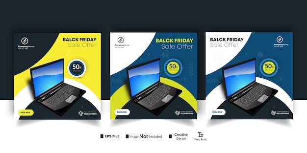 Conjunto de postagens promocionais de instagram e banners de anúncios para venda de laptop