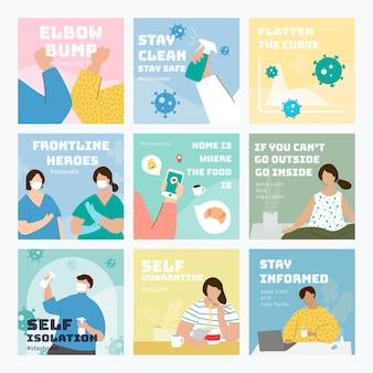 Conjunto de postagens sociais de prevenção de coronavírus