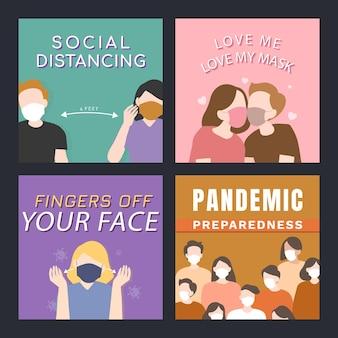 Conjunto de postagens sociais de prevenção de propagação de vírus