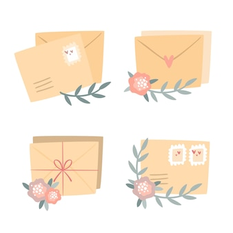 Conjunto de postais românticos
