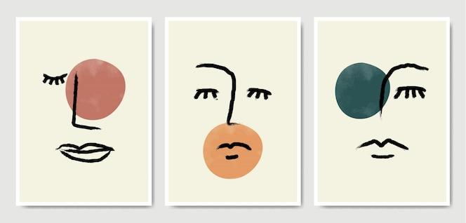 Conjunto de pôster abstrato surreal de retratos de rosto