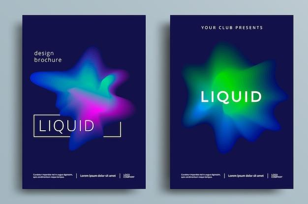 Conjunto de pôster colorido abstrato líquido