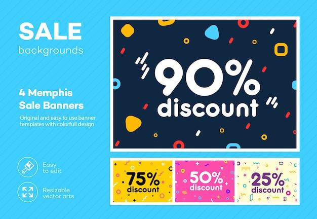 Conjunto de pôster colorido moderno, banner, modelo de folheto no estilo memphis. grande venda. desconto de oferta especial.