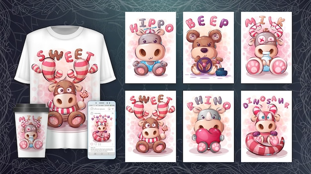 Conjunto de pôster de animais fofos e merchandising