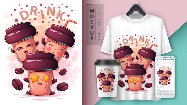 Conjunto de pôster de café engraçado e merchandising