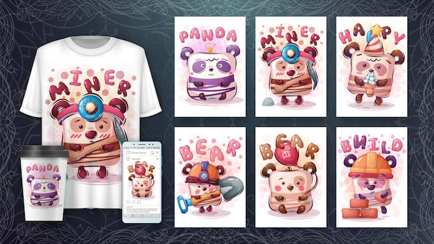 Conjunto de pôster de urso bonito e merchandising