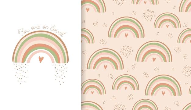 Conjunto de pôster e padrão sem emenda com arco-íris