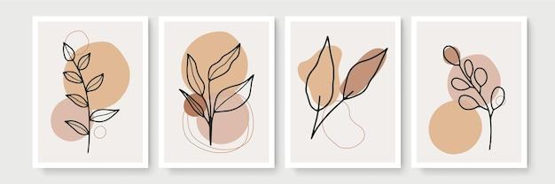 Conjunto de pôster em estilo boho mínimo com folhas tropicais. decoração de parede moderna e abstrata com desenho artístico de linha de folhagem