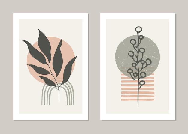 Conjunto de pôster em estilo minimalista com folha tropical