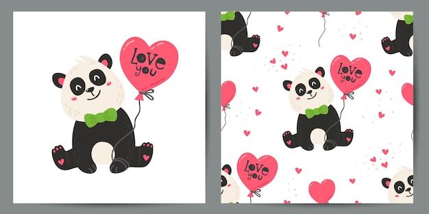Conjunto de pôster fofo e padrão sem emenda com pandas.
