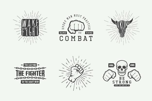 Conjunto de pôster vintage motivacional e inspirador de luta em estilo retro
