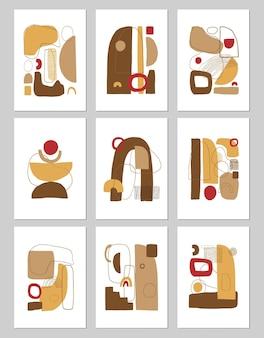 Conjunto de pôsteres abstratos de colagem contemporânea ou modelos de cartões. fundo geométrico estético