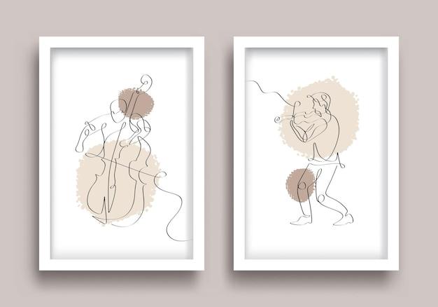 Conjunto de pôsteres com desenho de linha para violoncelo e violinista