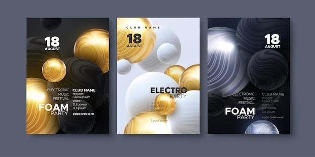 Conjunto de pôsteres de anúncios de festivais de música eletrônica
