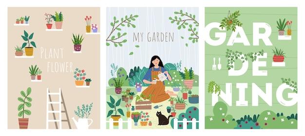 Conjunto de pôsteres de conceito de jardinagem doméstica
