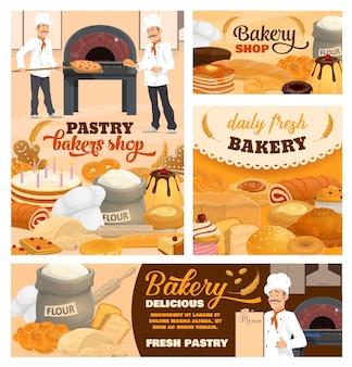 Conjunto de pôsteres de desenhos animados para confeitaria e padaria