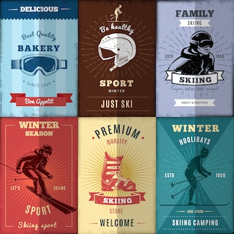 Conjunto de pôsteres de esqui nórdico
