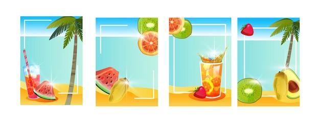 Conjunto de pôsteres de férias de verão na praia