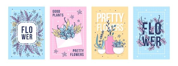 Conjunto de pôsteres de flores e plantas