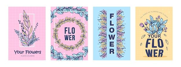 Conjunto de pôsteres de flores