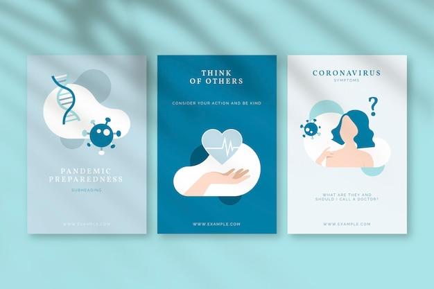 Conjunto de pôsteres de mensagens de conscientização sobre o coronavírus