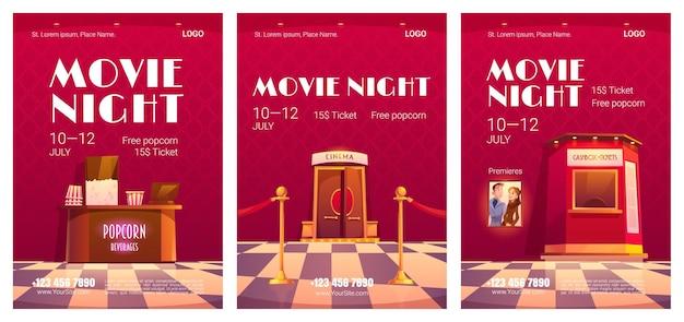 Conjunto de pôsteres de noite de cinema