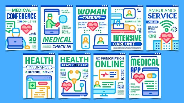 Conjunto de pôsteres de promoção criativa da telemedicina