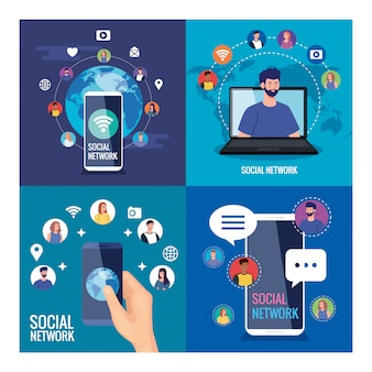 Conjunto de pôsteres de redes sociais, pessoas conectadas digitalmente, interativas, de comunicação e conceito global