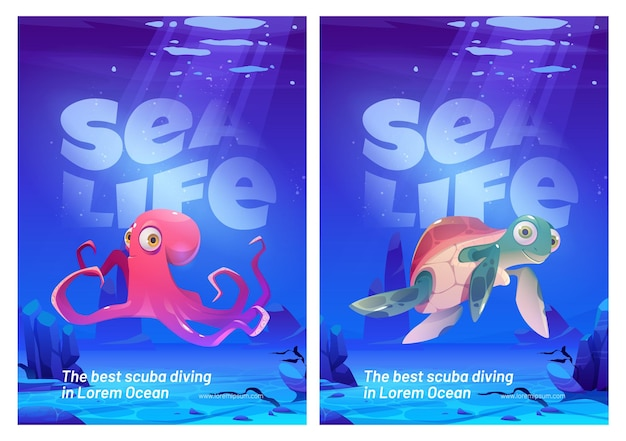 Conjunto de pôsteres de vida marinha