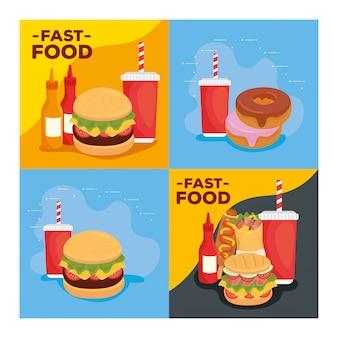 Conjunto de pôsteres deliciosos fast food
