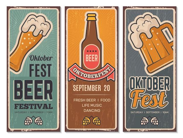 Conjunto de pôsteres do festival de cerveja