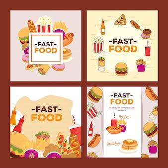 Conjunto de pôsteres, fast food delicioso
