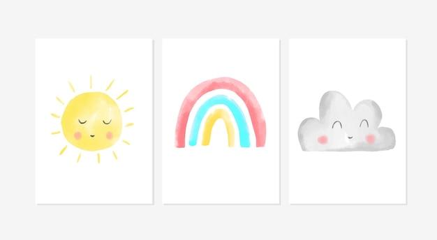 Conjunto de pôsteres fofos com desenhos de sol, arco-íris e nuvem