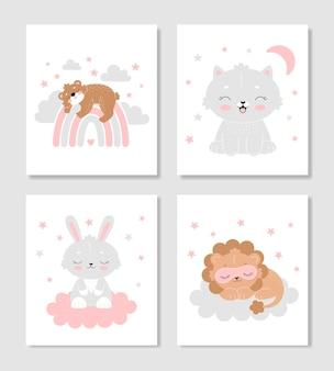 Conjunto de pôsteres fofos para o berçário um urso no arco-íris um coelho na nuvem um gato um leão adormecido