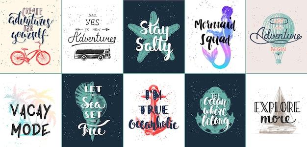 Conjunto de pôsteres motivacionais de aventura e viagens