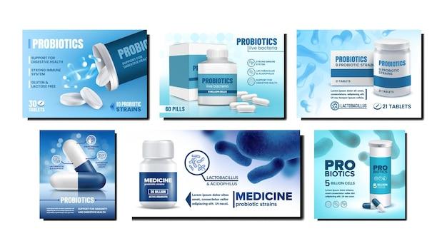 Conjunto de pôsteres promocionais criativos de probióticos