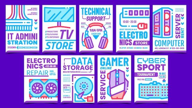 Conjunto de pôsteres promocionais de coleção de computador