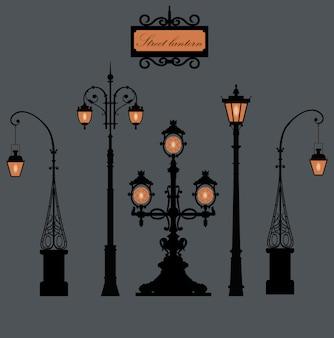 Conjunto de postes de iluminação em são petersburgo.