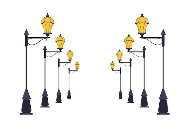 Conjunto de postes de lâmpada de rua. linhas de perspectiva da estrada do pólo claro urbano. estilo simples.