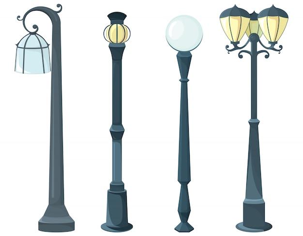 Conjunto de postes de luz. equipamentos de luz vintage.