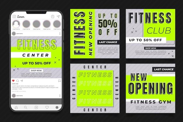Conjunto de postes de saúde e fitness planos